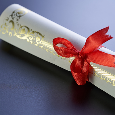 A certificate wrapped in a bow